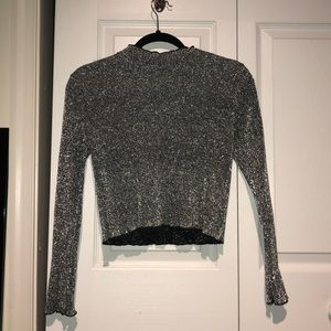 Silver Cropped Long-Sleeve Shirt